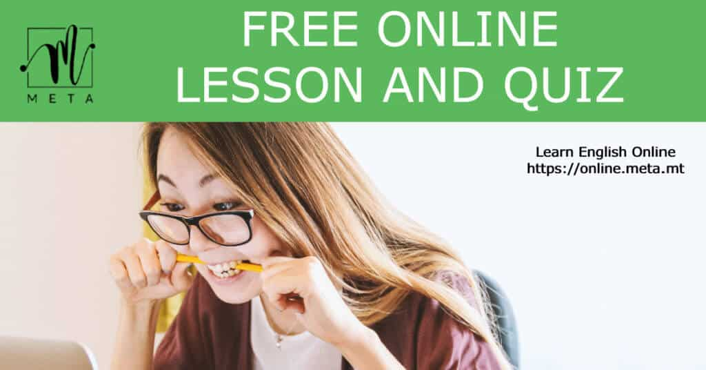 free online lesson and quiz in English