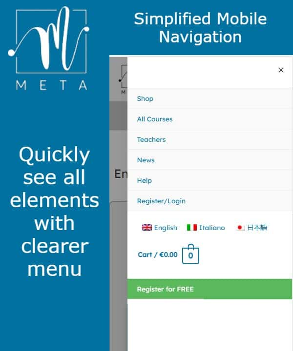 META learn English online mobile navigation updated to be simpler and clearer to use